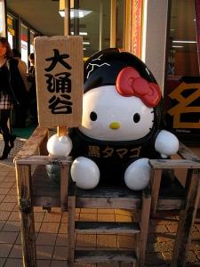 a black egg Hello Kitty statute