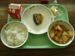 pacific saury with a miso and raddish sauce, nikujyaga (meat and potato), frozen piece of pineapple