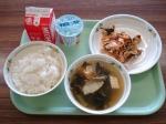 pork and kimchi, miso soup, and plain yogurt