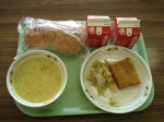 fish filet (to make a sandwich), cabage and sausage sautee, corn soup
