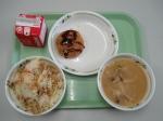 menchi-katsu, miso soup, takikomi rice