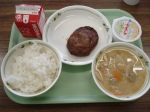 hamburger steak with raddish, miso soup, chocolate pudding