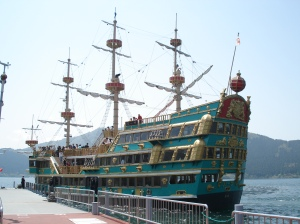 here is the pirate ship we road around the lake on