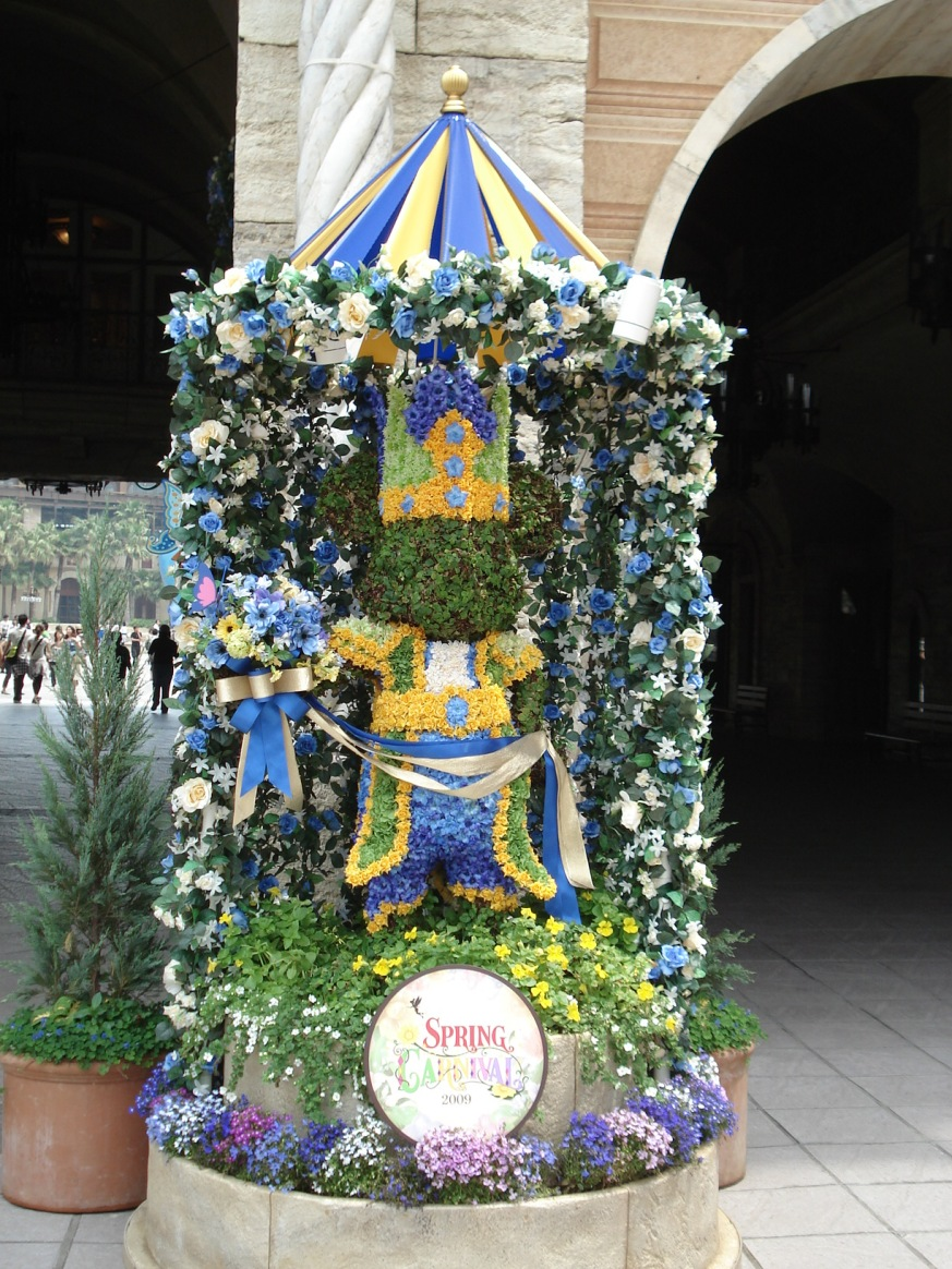 A flower statue of Mickey