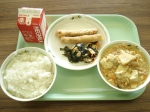shrimp spring rolls, seaweed salad, and mabodofu (tofu with ground meat)