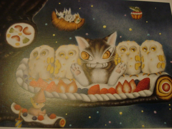 Dayan on a cake with merengue owls