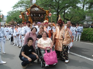 posing with the Shinto shrine pullers