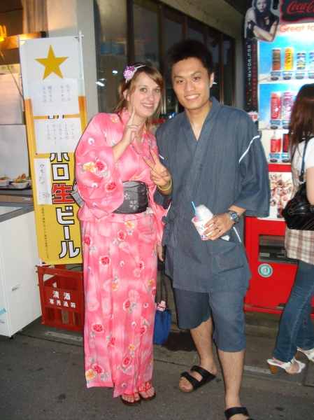 me wearing a women's yukata and Jun wearing a  jinbei)