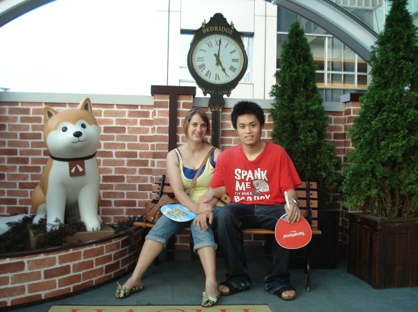 Jun and I taking a picture with Hachi from the movie