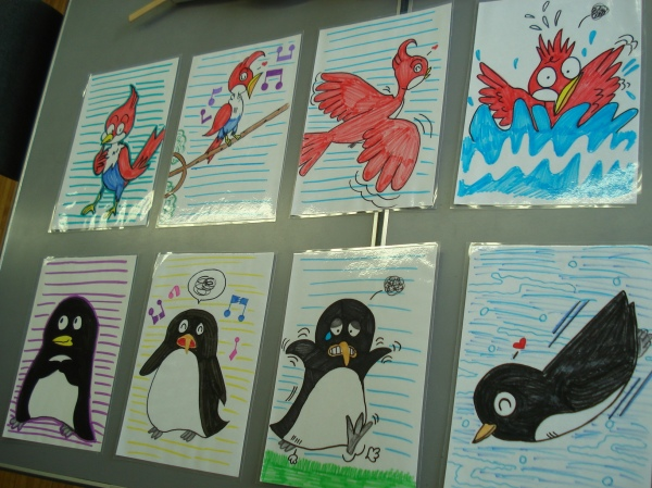 picture cards for the bird and penguin conversation and chant