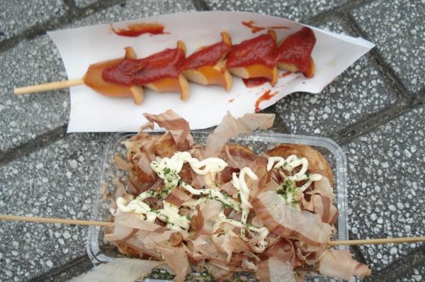 takoyaki and a weiner