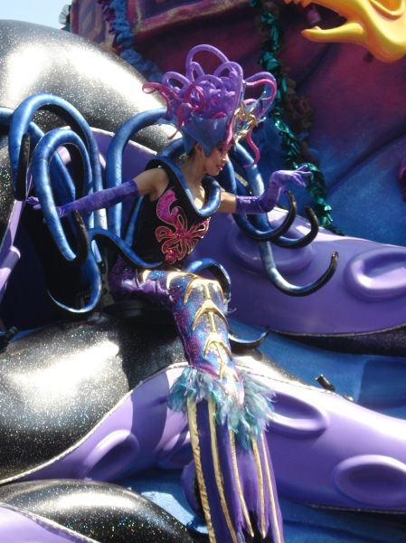 she was attached to Mickey's ocean themed float