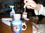the hot-chocolate-on-a-stick with milk in my feel-good Little Mermaid cup